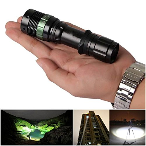 1-Pc Foremost Popular 3000 Lumen LED Flashlight Zoom Lamp Zoomable Torch Light Adjustable Focus Colors Black