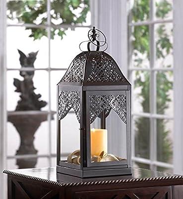 Large Steeple Candle Lantern Filigree Design 16 Inch Pillar Holder