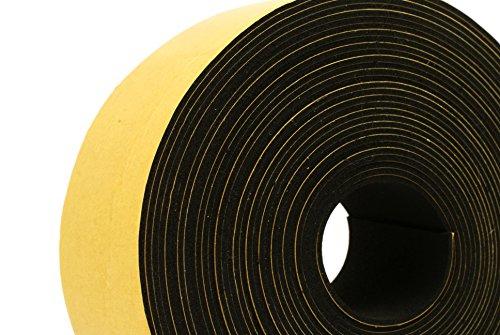 1 Wide x 1//16 Thick x 33 feet Long Neoprene Rubber Self Adhesive Strip