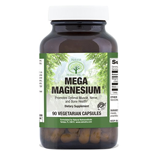 Natural Nutra Mega Magnesium Supplement from Amino Acid Malate, Chelate, Citrate, Malic Acid, 400 mg, 90 Vegetarian - Acid Vitamins Malic Magnesium