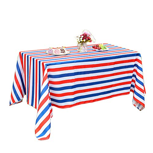 """Eternal Beauty 60 x 84"""" Rectangle Tablecloth Spillproof Polyester Printed Tablecloths for Party Indoor Outdoor Table (Flag Stripe)"""