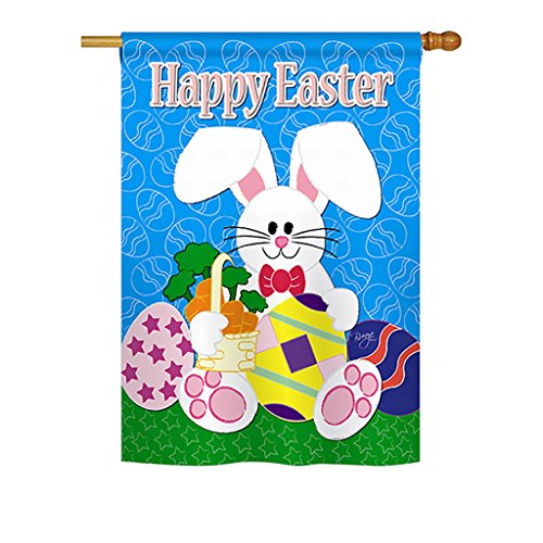 (Breeze Decor - Happy Bunny Spring - Seasonal Impressions Decorative Vertical House Flag 28