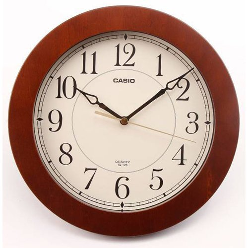 Casio Iq-126-5 Wall Clock with 10 Inches Thinline Quartz Marron Wood Frame and Beige Dial Battery Included Limited Edition