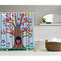 Ambesonne Owl Decor Cute Owls on Tree BFF Best Friends Forever Home Accent Design for Friendship Decor for Teens and Girls Bathroom Polyester Fabric Shower Curtain, Green Blue