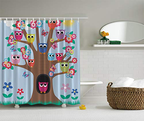 - Ambesonne Owl Decor Cute Owls on Tree BFF Best Friends Forever Home Accent Design for Friendship Decor for Teens and Girls Bathroom Polyester Fabric Shower Curtain, Green Blue