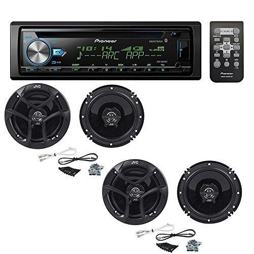 Pioneer DEH-X6900BT Single DIN Bluetooth in-Dash CD/AM/FM Car Stereo with (2 Pairs) JVC CS-J620 300W...