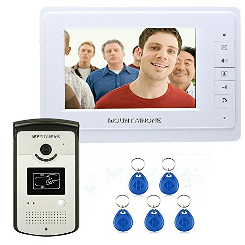 """7"""" Color Video Intercom Door Phone System With 1 White Monitor 1 RFID Card Reader HD Doorbell 1000TVL Camera - MOUNTAINONE SY819MEID11"""