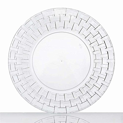 Clear 9 Inch Round Disposable Plate - Basketweave Collection - Basketweave Wine Holder