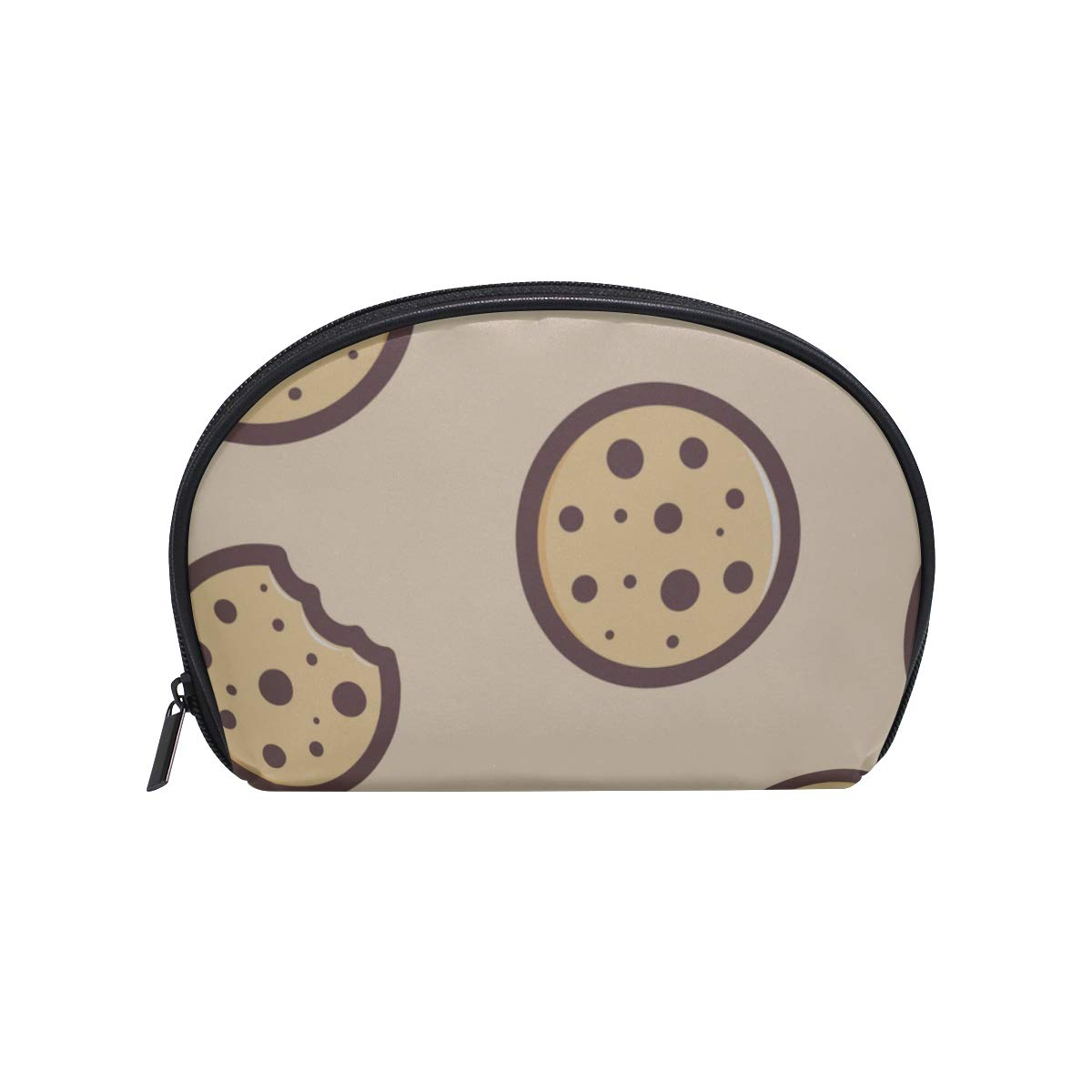 Shell Shape Lear Toiletry Bag Cute Delicious Food Dessert Cookies Print Makeup Bag For Teens Makeup Wash Bag Portable Travel Multifunction Storage Bag With Zipper For Women
