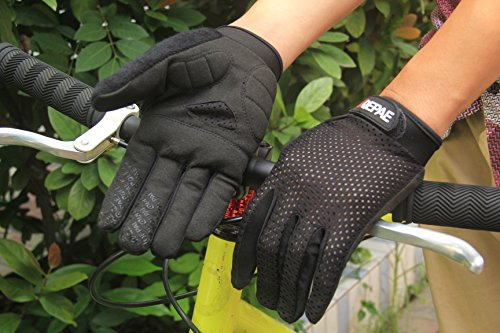 Lerway Anti-Rutsch Outdoor Hände Handschuhe Breath Weich Vollfinger MTB Handschuh Fahrradhandschuhe für Radfahren,Fahrrad Sports (Schwarz, L)