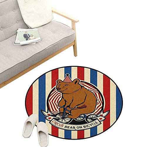 Bear Non-Slip Round Rug ,Circus Bear on Bicycle Carnival Theme Cute Mascot with Hat on Striped Backdrop, Washable Living Room Bedroom Kids 47