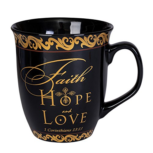 Elanze Designs Faith Hope Love 1 Corinthians 13:13 Black Gold 16 Ounce Ceramic Stoneware Coffee (Faith Design)