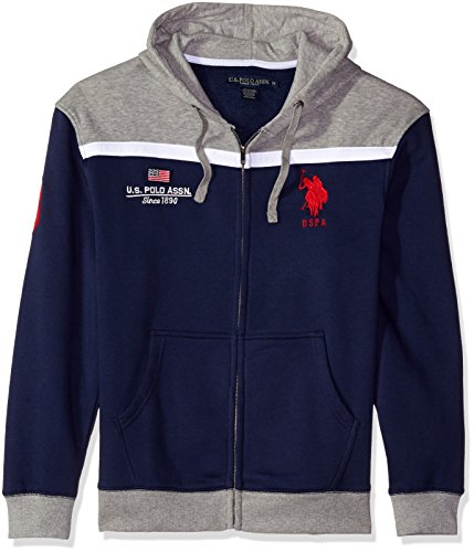 U.S. Polo Assn. Men's Color Block Fleece Hooded Jacket, Classic Navy, Large (Colour Block Jacket)