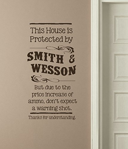 "Wall Decor Plus More WDPM3531""This House Protected by Smith and Wesson"" Funny Wall Decal Vinyl Sticker Lettering, Chocolate"