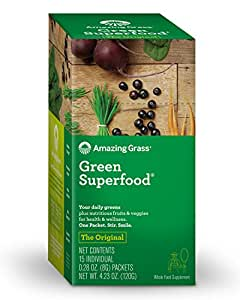 Amazing Grass Green Superfood Organic Powder with Wheat Grass and Greens, Flavor: Original, Box of 15 Individual Servings
