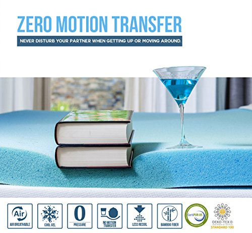 3 Inch Cool Gel Memory Foam Mattress Bed Topper Pad With