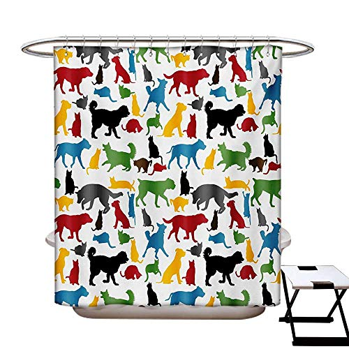 BlountDecor Kids Shower Curtain Collection by Colorful Cats and Dogs Animal Silhouettes Domestic Pets Cartoon Canine Characters Patterned Shower Curtain W36 x L72 Multicolor