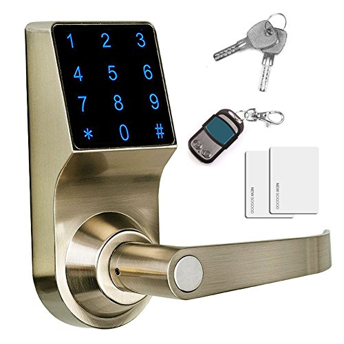 THINK SOGOOD Touchscreen Keyless Password Lever Door Lock, Remote control + Password + Card + Metal key, Perfect for Office & (Remote Keyless Door Lock)