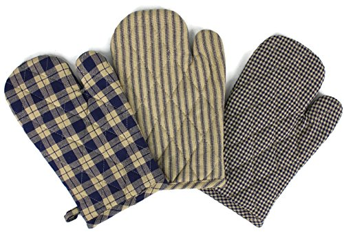 Mitt Tan Oven - Rustic Covenant Woven Cotton Farmhouse Oven Mitts, Set of 3, 7 inches x 10.5 inches, Navy Blue/Natural Tan