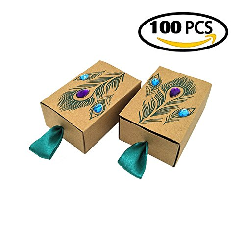 VNFEI Peacock Candy Boxes Wedding Favors Kraft Paper Gift Boxes Decoration  (100)