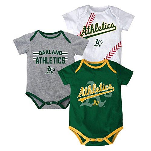 MLB Oakland Athletics Infant Boys 3 Strikes Body Suite, 24 Months, Dark (Dark Suite)