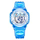 Kids LED Digital Unusual Sports Outdoor Children's Wrist Dress Waterproof Watch with Silicone Band, Alarm, Stopwatch for Boy Girl Blue