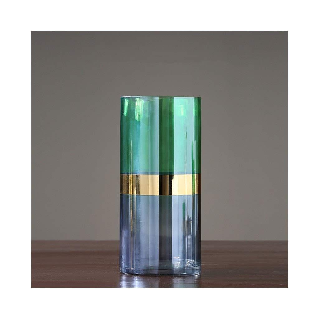 ガラス花瓶色フラワーアレンジメントリビングルームデコレーションテーブル家の装飾(グリーン) (Size : 14cm*30cm) B07SQ93WCM  14cm*30cm