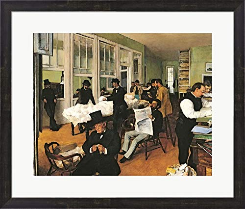 The Cotton Exchange, New Orleans, 1873 by Edgar Degas Framed Art Print Wall Picture, Espresso Brown Frame, 27 x 23 - Photo Art 1873