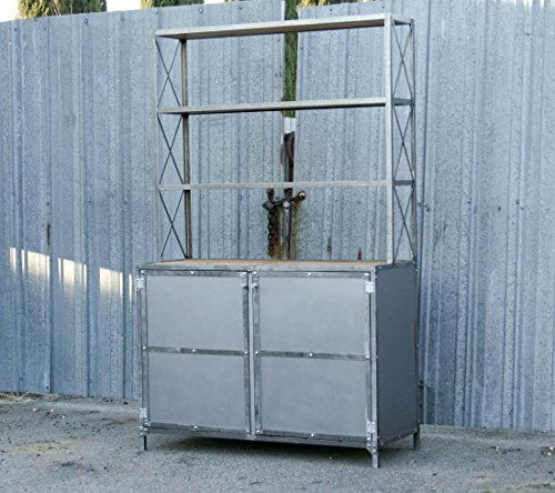 Modern baker's rack. Industrial hutch. Kitchen shelving. Reclaimed wood. Polished (Bakers Rack Hutch)