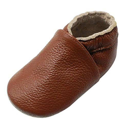 Baby Bath Slippers (Yalion Baby Boys Girls Shoes Crawling Slipper Toddler Infant Soft Leather First Walking Moccs(Brown,12-18 Months))