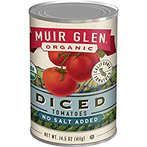 Muir Glen, Organic Diced Tomatoes, No Salt Added, 14.5 Ounce