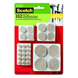 Scotch SP845-NA Round Felt Furniture Pads Value Pack, Beige, Assorted Sizes, 162 Pack