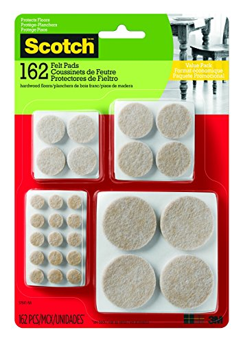 Scotch Felt Pads Value Pack, Round, Beige, Assorted Sizes, 162 Pads/Pack (SP845-NA)