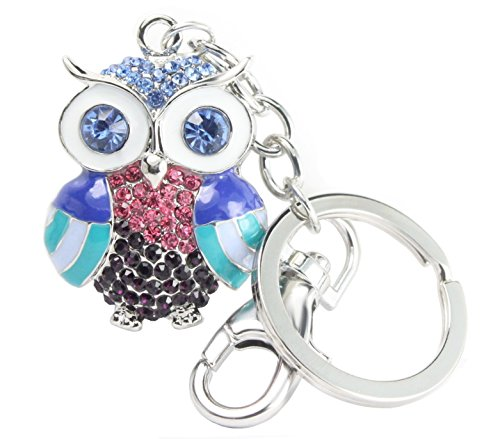 QUADIVA Bag Charm Colorful Owl Taschenanhänger für Damen (Farbe: silber/bunt) mit Kristallen besetzt