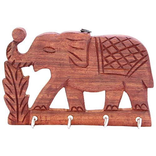 ITOS365 Handcrafted Wooden Four Hook Key Hangers - Holder - Rack - Organizer for Wall Elephant Décor - Used for Gift to loved ones (Holder Key Indian)