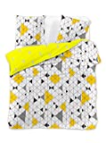 DecoKing Premium Reversible Duvet Cover Set Double 200x200 cm with 2 Pillowcases 50x75 cm made with 100% Mako-Satin Cotton Bedding Set Ducato Collection Geometric White Yellow Black Grey