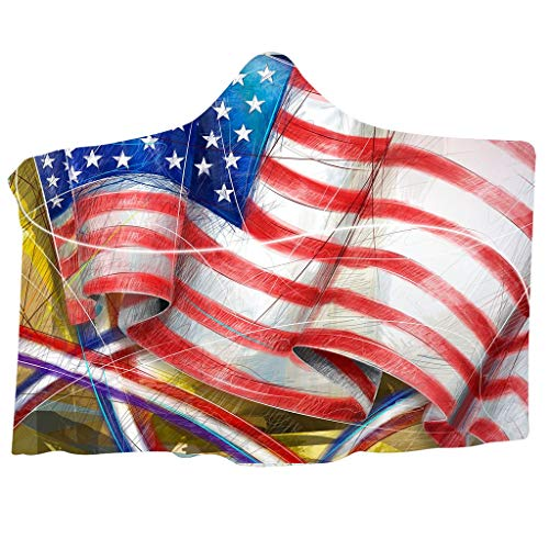 ❤️Ywoow❤️, American Independence Day Plush Hooded Warm Blanket Dressing Hooded Blanket