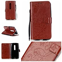 Moto X Play Case Case, Linkertech [Stand Feature] PU Leather Wallet Case Flip Protective Cover with Card Slots & Wrist Strap for Moto X Play / Droid Maxx 2 (5.5 Inch) 2015 Smartphone, BROWN