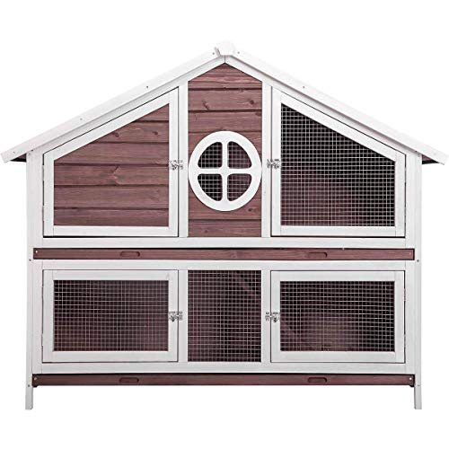 - MIERES Natural Wood House Pet Supplies Small Animals House Rabbit Hutch Red5