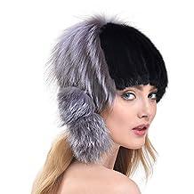 Bellefur Girls Genuine Mink Fur Knitted Hat for Winter Elegant with Slive Fox Pompon