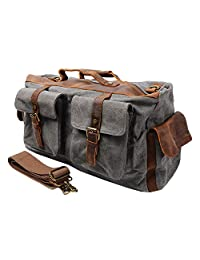 S-ZONE Retro Canvas Leather Duffel Weekend Tote Bag Travel Luggage Overnight Bag (Gray)