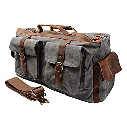 S-ZONE Retro Canvas Leather Duffel Weekend Tote Bag Travel Luggage Overnight Bag