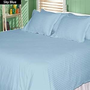 Stripe Pattern 100% Egyptian Cotton 14 Inch Deep Pocket 550 TC 6 Piece Sheet Set (Twin XXL , Sky Blue )