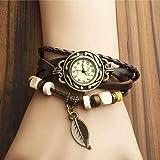 Vintage Leaf Pendant for Women Analog Leather Watch Black