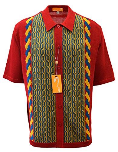 EDTION S Men's Short Sleeve Knit Shirt- California Rockabilly Style: Multi Chain Links Design (4XL, RED)