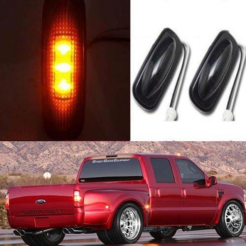 Partsbox 2pcs Smoked Lens LED Fender Bed Side Marker Lights