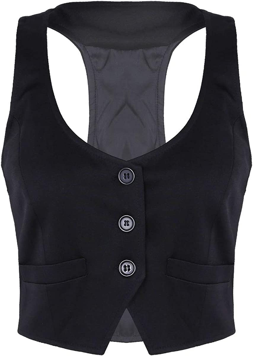 Aislor Womens V-Neck Slim Fit Waiter Tuxedo Bartender Racerback Vest Shirts Waistcoat Uniform