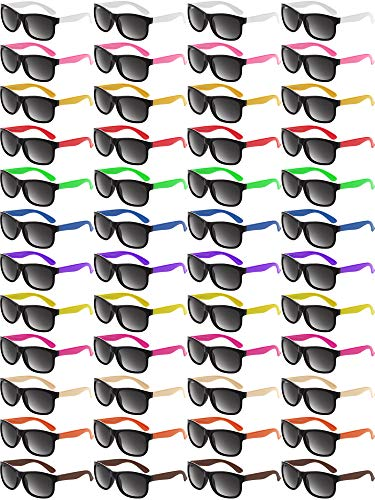 48 Pieces Neon Color Sunglasses 80s Party Sunglasses Retro Sunglasses Beach Pool Party Sunglasses for Graduation Party Mardi Gras Holidays