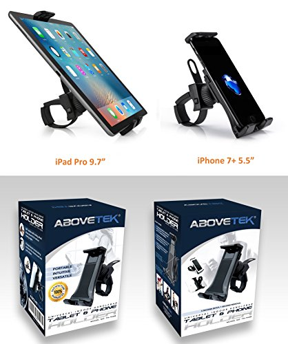 AboveTEK All-In-One Cycling Bike iPad/iPhone Mount, Portable Compact Tablet Holder for Indoor Gym Handlebar on Exercise Bikes & Treadmills, Adjustable 360° Swivel Stand For 3.5-12'' Tablets/Cell Phones by AboveTEK (Image #6)