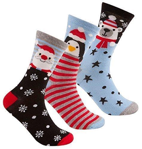 Hombre/Señoras 3 Paquete de Navidad/Navidad Calcetines Regalo ~ Pingüino Santa Muñeco De